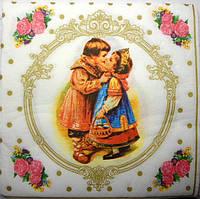 """Салфетка для декупажа, """"Первый поцелуй"""",  30х30 см"""