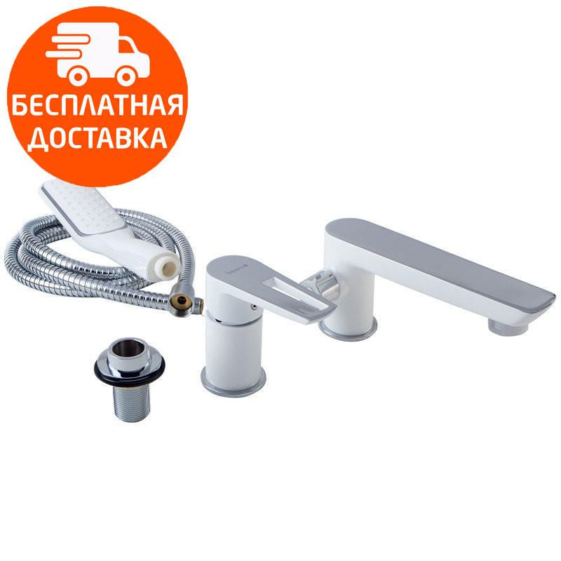 Смеситель на борт ванны на 3 отверстия Imprese Breclav 85245W хром/белый