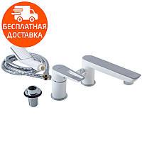 Смеситель на борт ванны на 3 отверстия Imprese Breclav 85245W хром/белый, фото 1