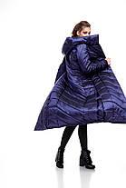Женский зимний длинный пуховик с отливом новинка синий размеры от 42 до 54, фото 2