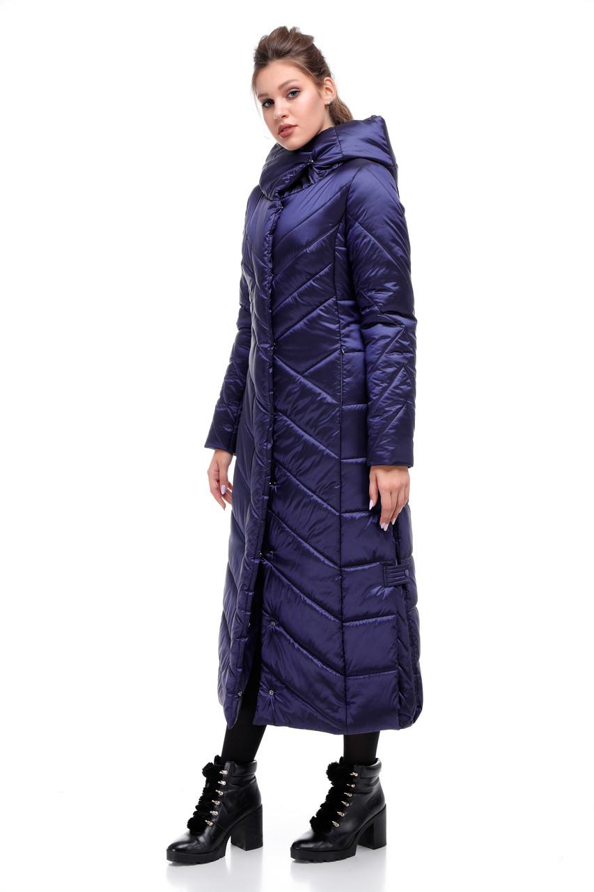 Женский зимний длинный пуховик с отливом новинка синий размеры от 42 до 54