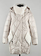 Удлиненная зимняя куртка биопух 20027 gessica sabrina от mishele с искусственным мехом козлика, фото 1