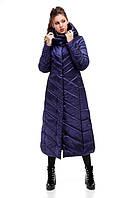 Женское пальто зимнее длинное непромокаемое на синтепухе синее зеленое размеры от 42 до 54