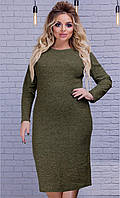 Теплое женское платье большого размера от 50 до 54
