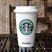 Чашка керамическая с силиконовой крышкой с поилкой Starbucks, Оригинальные чашки и кружки