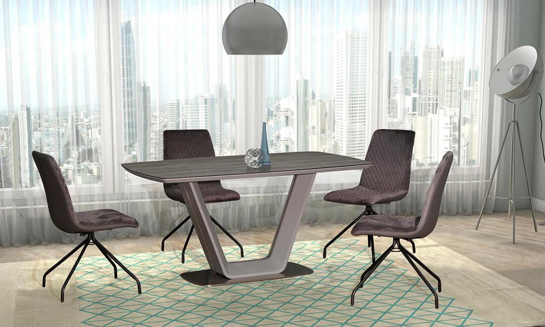 Стол обеденный нераскладной серого цвета  в современном стиле   Брайт  PRESTOL