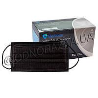 Одноразовая медицинская маска для лица Medicom, черная, 50 шт