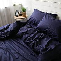 Постельное белье семейное поплин PF01 темно-синий Хлопковые традиции