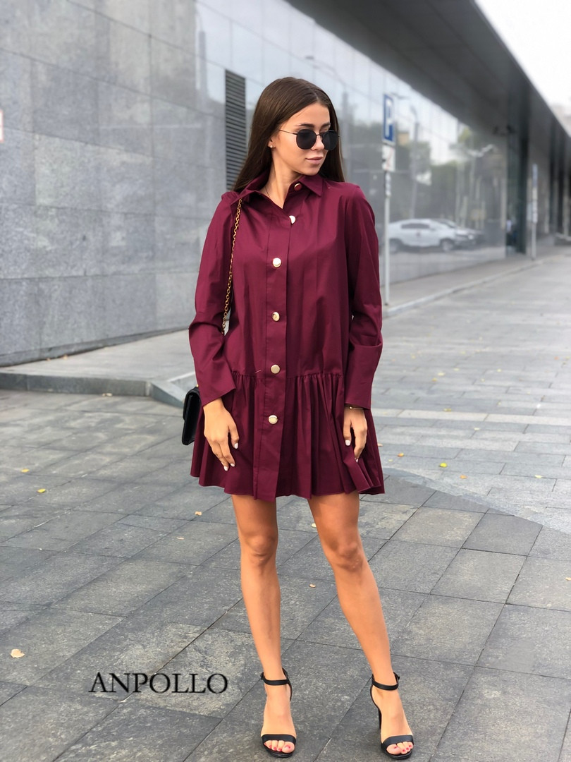 Бомбезное платье на пуговках с кокетливой юбочкой Размер:42-46. Разные цвета. (905)