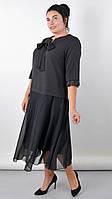Нарядное платье черного цвета большого размера Касандра, фото 1