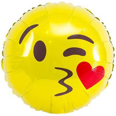 """Фольгована кулька коло смайл з поцілунком 18"""" Китай"""