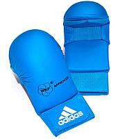 Перчатки для каратэ Adidas с лицензией WKF без большого пальца, синие, фото 1