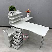 """Угловой профессиональный стол для маникюра с двумя складными столешницами и ящиком """"карго"""""""