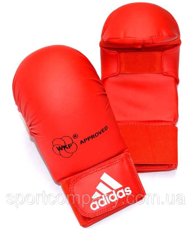 Перчатки для каратэ Adidas с лицензией WKF без большого пальца, красные