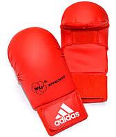 Перчатки для каратэ Adidas с лицензией WKF без большого пальца, красные, фото 1