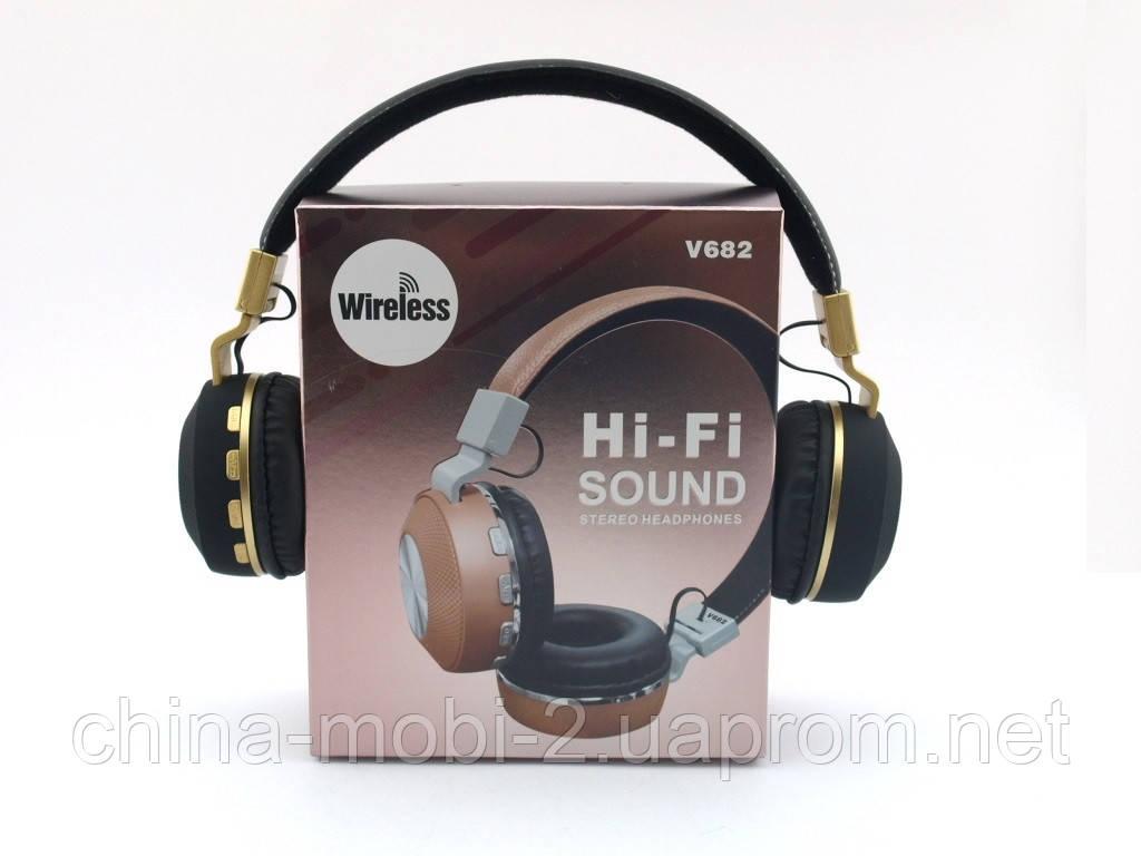 JBL V682 Headset копия, bluetooth наушники с FM MP3, черные с золотом