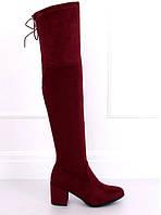 Бордовые женские ботфорты на квадратном каблуке