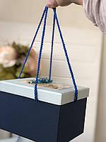 """Декоративная коробка """"Сухоцвет""""синего цвета с ручками  для подарков """"L"""""""