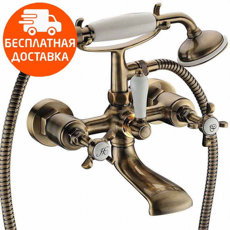 Смеситель для ванны двухвентильный с душевым гарнитуром Imprese Cuthna 10280 ANTIQUA бронза