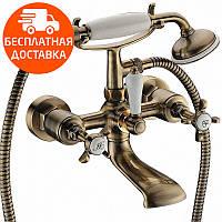 Смеситель для ванны двухвентильный с душевым гарнитуром Imprese Cuthna 10280 ANTIQUA бронза, фото 1