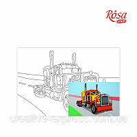 Полотно на картоні з контуром: Мультфільм №30 Вантажівка (20см*30см) ROSA KIDS