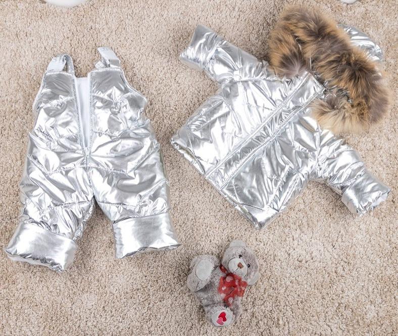 Серебристый детский зимний полукомбинезон и куртка 80-104 р