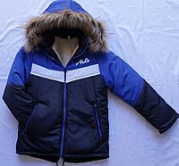 Детская зимняя куртка для мальчика оптом на 4-8 лет вставка электрик