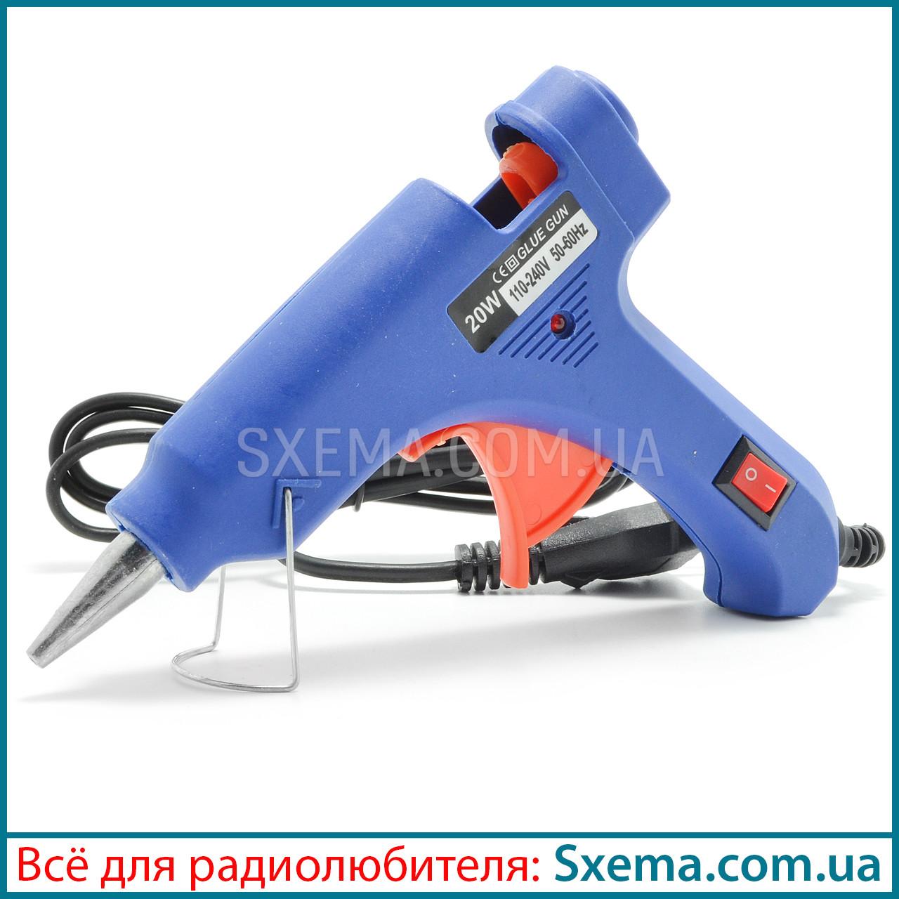Клеевой пистолет термопистолет Shun Xin TL-20W 7мм, тонкий носик, кнопка включения