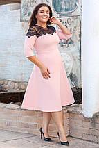 """Приталенное миди-платье """"Fay"""" с кружевом и четвертным рукавом (большие размеры), фото 3"""