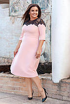 """Приталенное миди-платье """"Fay"""" с кружевом и четвертным рукавом (большие размеры), фото 2"""