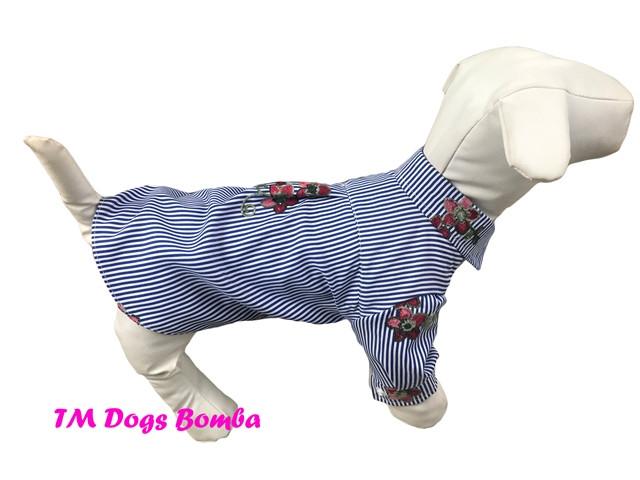 Рубашка для собак серая с цветочками