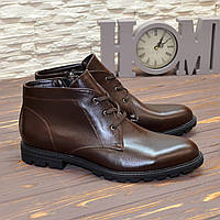Ботинки зимние мужские на шнурках, натуральная кожа коричневого цвета. 41 размер