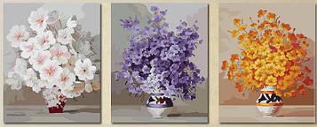 Картина по номерам 50х150 см. Триптих Babylon Нежные цветы (MS-14030)