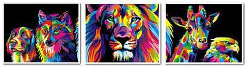 Картина по номерам 40х150 см. Триптих Babylon Радужный лев (VPT-022)