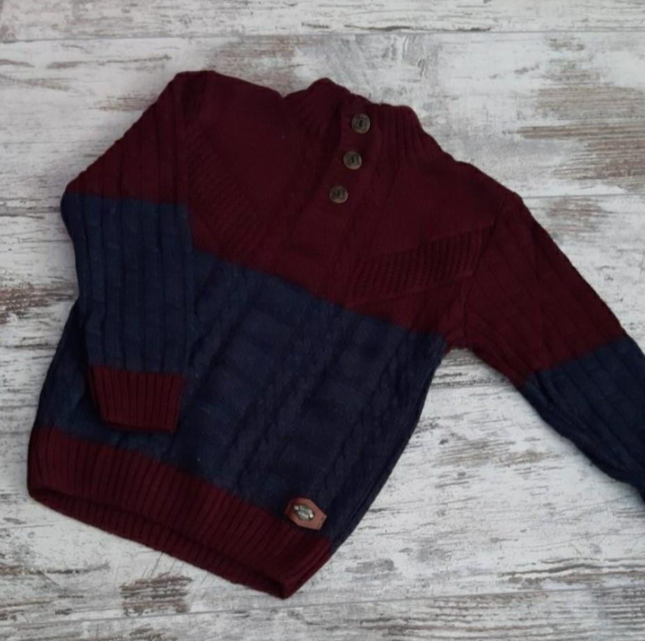 Свитер вязанный #2101 для мальчика. 4-9 лет (104-134 см). Бордо с синим. Оптом.