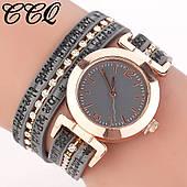 Женские наручные часы, серый ремешок