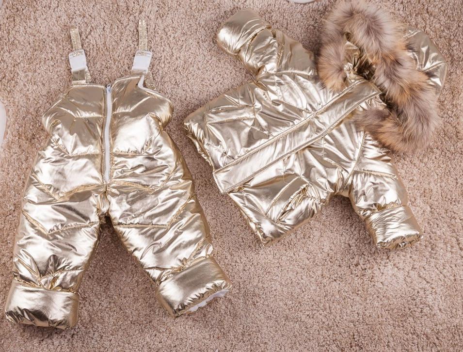 Золотистый зимний комбинезон и куртка на девочку 80-104 р