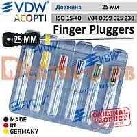 Фінгер Плагер ВДВ (Финджер Плуджер) Finger Plugger VDW для вертикальної конденсації гутаперчі L25 мм асорті ISO №15-40