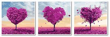 Картина по номерам 50х150 см. Триптих Babylon Три сердца (VPT-024)