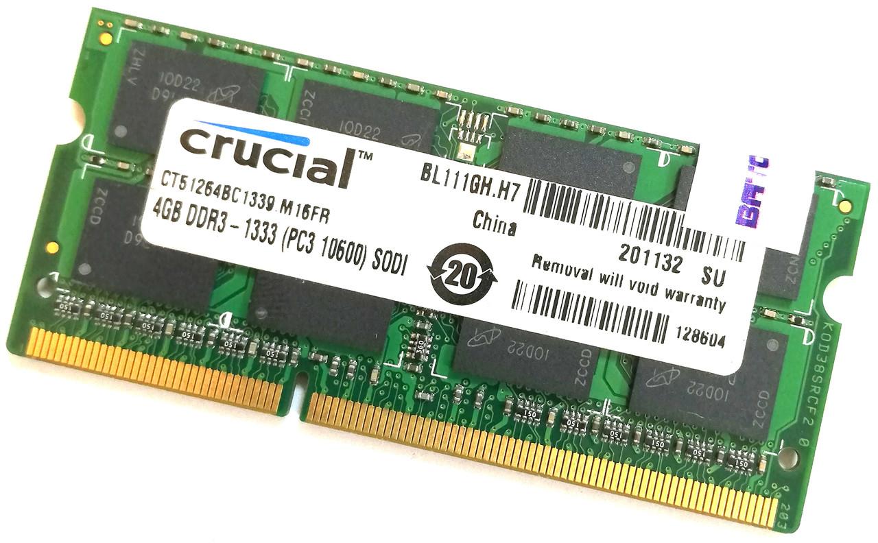 Оперативная память для ноутбука Crucial SODIMM DDR3 4Gb 1333MHz 10600s CL9 (CT51264BC1339.M16FR) Б/У