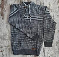 Свитер вязанный #602 для мальчика. 10-15 лет (140-170 см). Серый. Оптом.