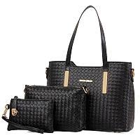 Женская сумка набор 3в1 + мини сумочка и клатч черный