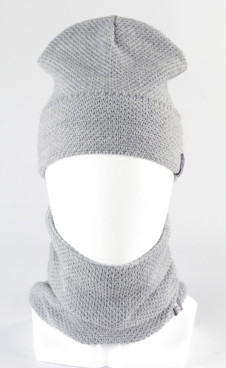 Набор вязанный шапка рожки + бафф KANTAA св.серый
