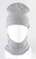 Набор вязанный шапка рожки + бафф KANTAA св.серый, фото 1