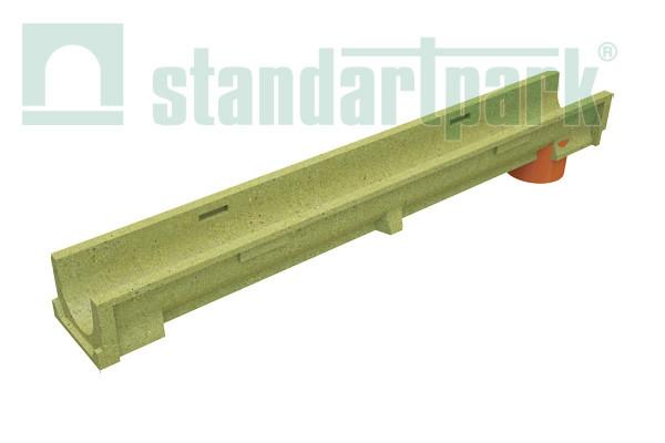 Лоток водоотводной CompoMax Basic ЛВ–10.14.10-ПВ полимербетонный с вертикальным водоотводом 703009