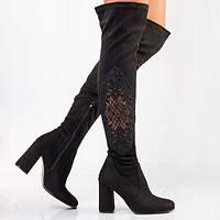 Замшевые женские сапоги на высоком квадратном каблуке