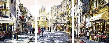 Картина по номерам 50х150 см. Триптих Babylon Солнечная улица Художник Ричард Макнейл (VPT-026)