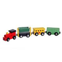 Детский деревянный паровозик с вагонами