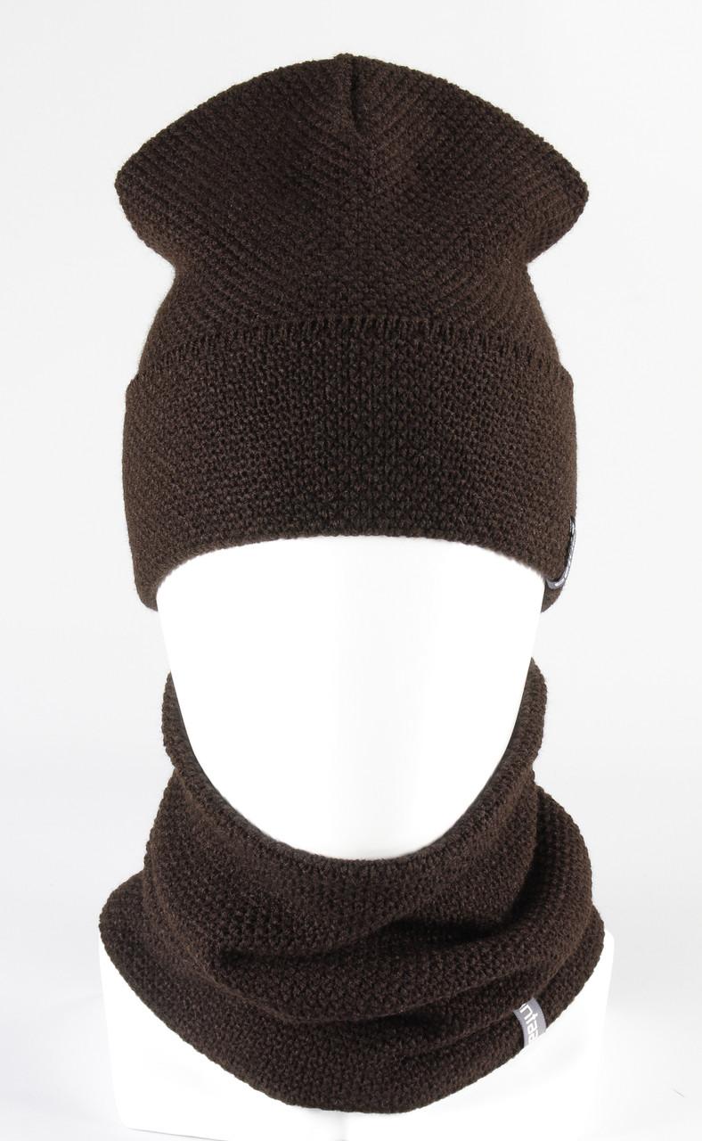 Комплект вязанный шапка хомут KANTAA коричневый
