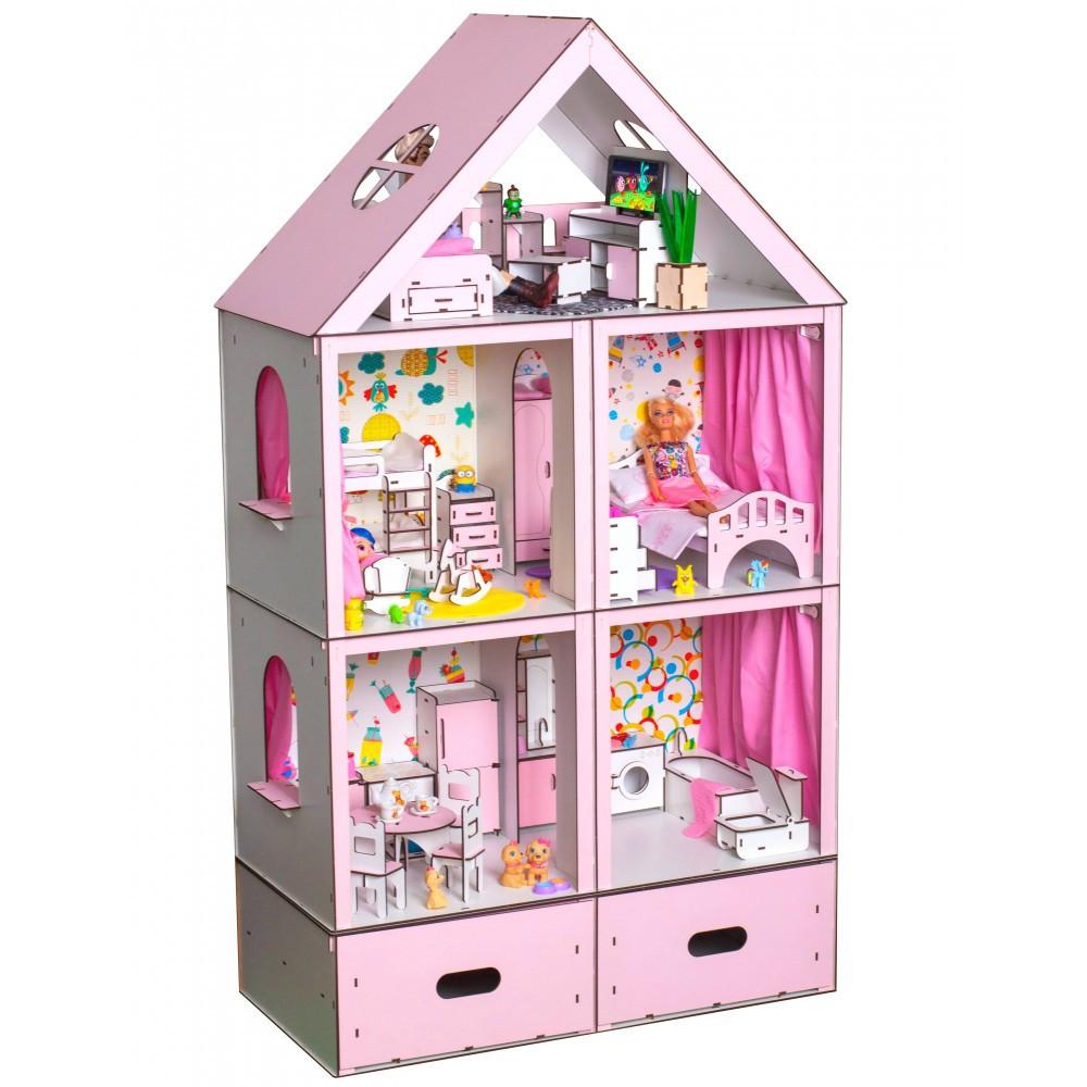 Домик для кукол Барби. Большой особняк Барби LUX с мебелью, обоями, текстилем и шторками (1200х340х680 мм)